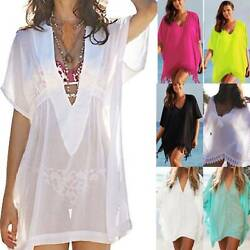 Women Swimwear Loose Bikini Cover Up Top Summer Beach Swimsuit Kaftan Mini Dress $12.53