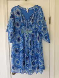 Chico#x27;s Size 2 Blue Dress Sheer Topper With Under Dress Jeweled Accents $17.99