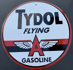 Tydol Flying A Gas Motor Oil Round Embossed Metal Large Tin Sign 12quot; Vintage $30.00