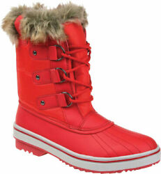 Women#x27;s Journee Collection North Waterproof Duck Boot Red Manmade Size 7 M $99.95
