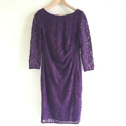 Eliza J Lace Fit amp; Flare Cocktail Dress Long Sleeve Womens Size 6 Purple Lined $33.99