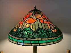 Tiffany Reproduction Poppy Lamp Stained Glass Lamp Shade 21quot; For Repair $499.00