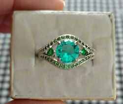Ring Bomb Party Size 9 Aqua Blue Topaz amp; Emerald $24.00