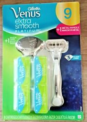 NEW Venus Extra Smooth Platinum Razor Handle 9 Blade Refills Razor Case $18.00
