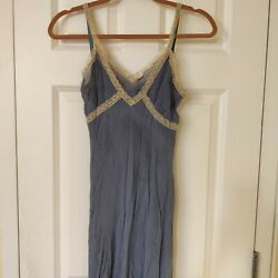 Vintage light blue sheer dress with silk lining and lace by Calme $40.00