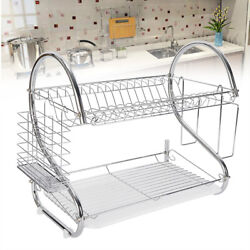 2 Tier Silver Sink Dish Plate Drying Rack Drainer Washing Tool Kitchen Holder US $19.00