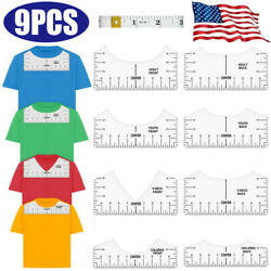 9X T shirt Alignment Ruler Tool Guide Size Chart Silhouette Designs DIY Set USA $11.10