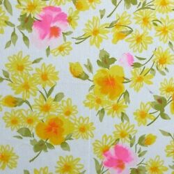 Vintage Material Fabric Retro Print Pink Yellow Water Color Flowers Mid Century $34.32