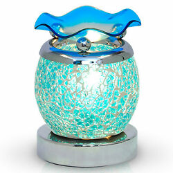 Electric Oil Wax Warmer Blue Mosaic Glass Touch Burner Night Lamp Aromatherapy $21.97
