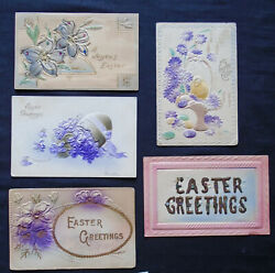 Lot 5 Easter Novelty Greetings air brushed embossed #6192 $3.99
