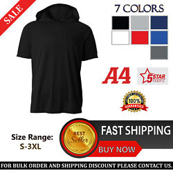 A4 Mens 4oz. Micro Poly Interlock Short Sleeves Hooded T Shirt N3408 S 3XL $14.78