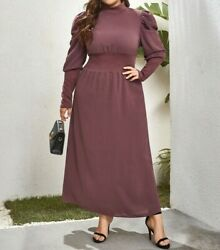 Solid Mock Neck Gigot Puff Sleeve A Line Flared Maxi Plus Size $49.49