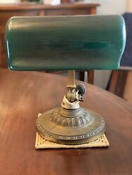 ANTIQUE BANKERS LAMP GREEN SHADED DATED SIGNED VERDELITE 1917 $465.00