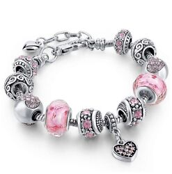 18K Gold Plated Heart Pink CZ Murano Charm Bracelet Made with Swarovski Elements $10.99