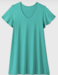 2X Women#x27;s Plus Size Dress Short Sleeve A Line Sun Dress Emerald Green Ava amp; Viv $18.99