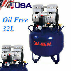 Dental Air Compressor Oil Free Tank 32L Portable Silent Air Compressor Noiseless $334.03