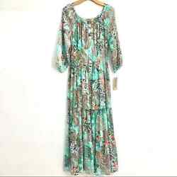 Anthropologie Long Boho Maxi Dress Paisley Floral Green Spring Summer Style L $69.00