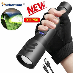 90000LM XHP50 Tactical LED Flashlight Torch Light Lanterna with Battery Zoomable $17.79
