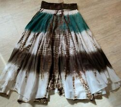 Baba Long Boho Skirt sz. L Brown Turquoise Maxi Peasant Skirt NWT NEW $25.90