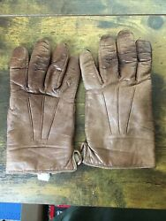 Madova Ladies' Gloves Brown Leather Cashmere Lined Size 8.5 Florence Italy $22.95