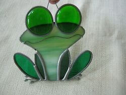 Vintage Leaded Stained Glass Hanging Window Suncatcher Retro Groovy Frog $19.99