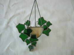Vintage Leaded Stained Glass Hanging Window Suncatcher Hanging Ivy Basket $19.99
