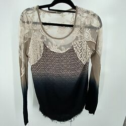 Gimmicks BKE BOHO Size Small lace Long Sleeve Top ombre Top Shirt $26.99