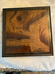 VTG Mid Century MCM Bernhard Rohne Acid Etched Metallic Brutalist Abstract Art $149.95