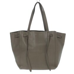 Auth CELINE Cabas Phantom Small With Belt Gray Beige Leather Tote Bag $608.00