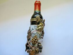 Peint Main Limoges Trinket Wine Bottle With Antique Holder Limited Edition $45.00