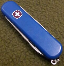 Wenger Blue Small Vintage Swiss Army Keychain Knife LUNDE Scissors File Used $8.99