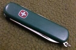 Wenger Green Small Vintage Swiss Army Keychain Knife Scissors File HCF Name Used $6.99