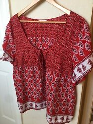 American Eagle Floral Cap Sleeve Red Lightweight Top Boho Size XXL $20.00