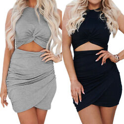 Women Sleeveless Knot Front Cut Out Bodycon Mini Pencil Dress Party Casual Dress $15.49