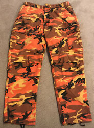 Mens Rothco BDU Orange Camo Military Surplus Tactical Cargo Pants Size L Regular