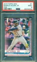 2019 Topps Mini Pink Ronald Acuna Rookie Cup #1 PSA 9 8 25 $199.00