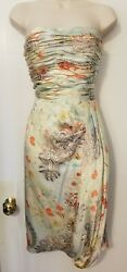 David Meister 100% Silk Strapless Sarong Pastel Floral Cocktail Dress Size 6 $39.99