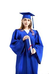 Graduation Cap and Gown 2021 Tassel College or High School Blue Matte Unisex
