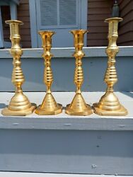 Antique Brass Candlesticks quot;Beehivesquot; Vintage Candle Holders *Beautiful* $52.75