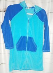 Lands End Kids Terry Hooded Cover Up Long Sleeve Zip Front Pockets Blue Med $13.95