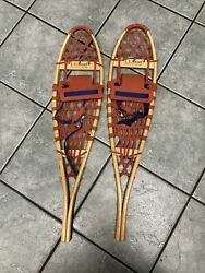 LL Bean 7 x 30 Wooden Snowshoes Leather Webbing MINT Condition RARE $195.00