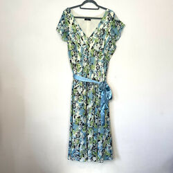 BM Dress 22 Green Blue Tones Floral Aline Floaty Plus Occasion Evening Midi Belt GBP 13.95