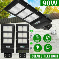 2x 90W Commercial Outdoor Solar Powered LED Street Light IP67 Dusk to Dawn Lamp
