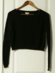 MOSSIMO WOMENS BLACK LONG SLEEVE ROUND NECK CROPPED SWEATER SIZE SMALL