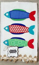 Mudpie 100% Linen Hand Towel With 3 Fish NWT Cute for Beach Condo or Lake House $8.99