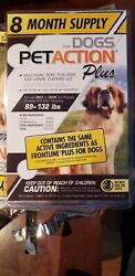 PETACTION PLUS for Dogs 8 Doses 8 Month Supply Dogs 89 132 Lbs NEW SEALED $28.00