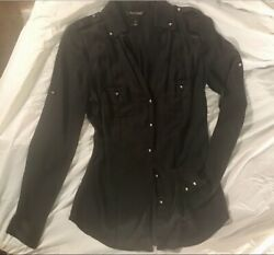 White House Black Market Black Long Sleeve Blouse Size 4