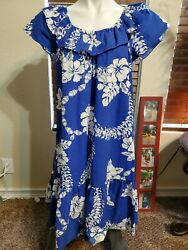 Hilo Hattie The Hawaiian Original Off The Shoulders Ruffle Floral Dress XL NWOT $35.00