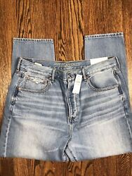 NWT American Eagle Hi Rise Girlfriend Jeans Distressed Size 14 Short 14S $33.15