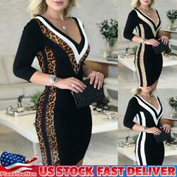 Womens Sequin V Neck Bodycon Mini Dress Ladies 3 4 Sleeve Evening Party Gown US $8.54